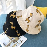 baby giraffe cartoon großhandel-Baby Hüte koreanische Kinder Giraffe Cartoon Baumwolle Fischer Eimer Hut Mädchen Jungen Sommer flache Top Becken Kappe ausgestattet Hüte Designer Kappen Visier