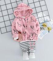 Wholesale full animal rabbits resale online - Korean version children s suit full of print ducklings children and babies full of print rabbits two piece suit