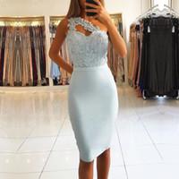 um ombro rendas vestidos de comprimento do joelho venda por atacado-Céu claro Azul Curto Na Altura Do Joelho Vestidos de Cocktail 2019 Novo Um Ombro Lace Apliques Mulheres Formais Vestidos de Festa Vestido de Baile
