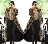 mujeres sexy abrigos gruesos al por mayor-Concisa las mujeres del estilo del leopardo de impresión de la moda Outwear larga caliente de piel gruesa de algodón Parka delgada capa de la chaqueta