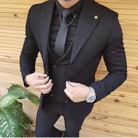 one button fitted blazer toptan satış-2019 Yeni Erkek Takım Elbise Slim Fit Peaked Yaka Bir Düğme Düğün Smokin Balo Best Man Blazer Tasarımlar (Ceket + Pantolon + Kravat) 780