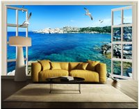 Wholesale windows live tv for sale - 3D photo wallpaper custom d wall murals wallpaper Window outside the sea blue sky D stereo HD sea view TV sofa background wall decoration
