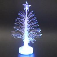 venta de luces led de árboles de navidad al por mayor-Mini árbol de navidad iluminado con LED de fibra óptica coloreada con LAD con batería Top Star-venta