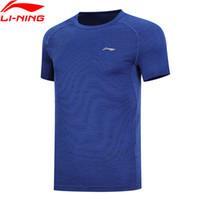 camisetas deportivas de poliéster al por mayor-Hombres corriendo camiseta AT DRY transpirable 100% poliéster camisetas LiNing Slim Fit Sports Tee Tops ATSN203 MTS2858