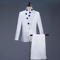 мужской белый костюм с бриллиантами оптовых-Men's Retro Zhongshan Suit Chinese Style Dress White Diamond-inlaid Men's Collar Blazer White Mens Suits