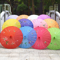Wholesale hands props for dancing resale online - Colorful Hand painted Wedding Silk Parasol Small Chinese Umbrella for Bride Dance Props