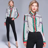 ingrosso donne superiori-Summer Women Runway Top Fashion Ladies Print Casual Maglie a manica lunga Office Button Frontale risvolto Slim camicette