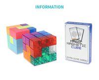 ímãs bucky venda por atacado-3x3x3 Magnetic ABS Puzzle Cube torção Building Blocks Stress Relief com 54 cartas de guia Crianças engraçado montadas Jogo Toy para Criança
