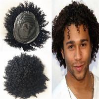 pelucas de pelo remy de alta calidad al por mayor-Cabello humano Onup Toupee Hairpiece para hombres Afro rizado Toupee Full Pu Mens Toupee Sistema de reemplazo Alta calidad Remy pelo piel hombres peluca
