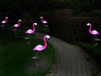 estacas de patio solar al por mayor-Lámpara de césped del flamenco - Jardín Decoración luces solares, luces solares del flamenco, al aire libre decorativo Stak, solares Flamenco rosado Yard Adornos (rosa)