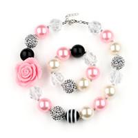 rosa kind armband großhandel-VCMART DAL16745 Kinder Mädchen Farbe Perlen Halskette und Armband Kit Harz Anhänger Rosa niedlichen Schmuck Set Party Geschenk