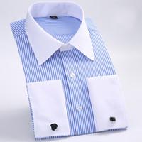 polo xxxxl toptan satış-Yeni Stil Pamuk Beyaz Erkekler Düğün / Balo / Yemeği Damat Gömlek Giyim Damat Adam Gömlek Klasik Çizgili Erkekler Gömlekler