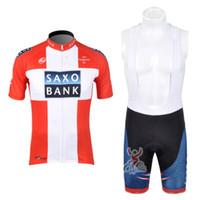 pantalones cortos para hombre de ciclismo jersey rojo al por mayor-SAXO BANK Team Cycling Clothing For Men Jersey de ciclismo de manga corta Ciclismo Bib Shorts sets ropa ciclismo hombre