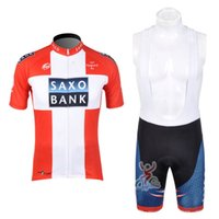 Wholesale saxo bank short sleeve jersey resale online - SAXO BANK Team Cycling Clothing For Men Short Sleeve Cycling Jersey Set Cycling Bib Shorts sets ropa ciclismo hombre