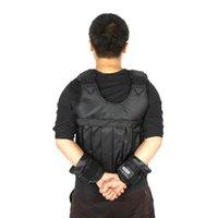 chaleco de carga al por mayor-10kg 50kg cargando chaleco cargado para equipo de entrenamiento de boxeo ejercicio ajustable Chaqueta negra Swat Sanda Sparring Proteger