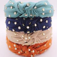 bohem saç takıları toptan satış-Bohemian Pamuk Düğümlü Hairband Rhinestone Knot Baş bandı Saç Aksesuarları Saç Takı