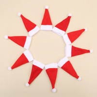 Wholesale toppers bags resale online - Santa Hat Christmas Silverware Holder Pockets Knife Spoon Fork Bag Wine Bottle Cap Topper Candy Cover Party Decorations