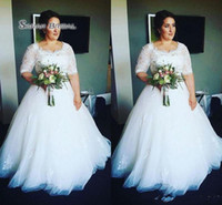 Wholesale sexy summer wedding dresses for sale - Newest Half Sleeves Plus Size Wedding Dresses Lace Bodice Appliques Tulle Fluffy Skirt Ball Gown Wedding Dresses