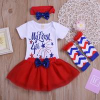 vestidos del 4 de julio al por mayor-Primero 4 de julio día de la independencia Baby Girl Outfit Tutu vestido de fiesta de algodón de manga corta 4pcs conjunto de ropa