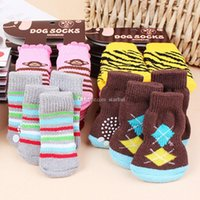 Wholesale woven bottom shoes for sale - Group buy Pet Dog Socks winter warm Cute Puppy Dogs Soft Cotton Anti slip Knit Weave Sock Skid Bottom Sock Dog Apparel HH7