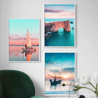 Wholesale paintings sailing boats for sale - Group buy Seascape Sailing Boat Reef Stone Seascape Nordic Posters And Prints Wall Art Canvas Painting Wall Pictures For Living Room Decor