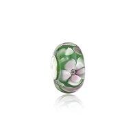 pulseira de cristal verde murano venda por atacado-Brilhando Flores Rosa Contas de Vidro Verde Murano S925 Núcleo de Prata Encantos Fit Pandora Pulseiras Colar DIY Menina Jóias Acessórios PDZ110