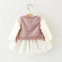 ropa de los niños falsos al por mayor-Los niños del otoño se visten para las niñas de manga larga falso 2pc vestidos de punto ropa de cuerpo recién nacido niño bebé ropa 0-24m