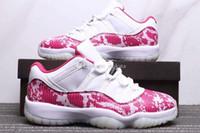 zapatos de baloncesto talla 5.5 8.5 al por mayor-Envío gratis para mujer Jumpman 11 Low Pink Snakeskin White Cherry Pink-Black Zapatos de baloncesto 11s Pink Snakeskin Sneakers Tamaño 5.5-8.5 Vienen