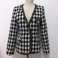 genietete plaidjacke großhandel-Hochwertige neue Mode Designer Jacke Frauen Single Button Rivet Plaid Tweed Wollmantel Jacke