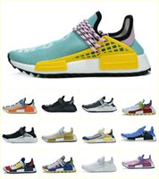 chaussures noires de coureur nmd achat en gros de-2020 NMD Human Race Men Women Running Shoes Pharrell Williams HU Runner White Black Yellow Red Grey Mens Trainers Sports Sneakers Size 36-47