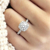Wholesale simple gold engagement rings for women resale online - Simple Women Crystal Sterling Silver Rings For Wedding Engagement Jewelry Accessory Fine Rhinestone Anillos Gift