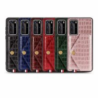 Wholesale crocodile leather case for sale – best Leather Wallet Case For Huawei P40 Pro P40 Lite E P40 Crocodile Car Holder Metal Finger Stand Bracket Magnet ID Card Slot Cover Luxury