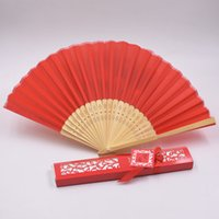 Wholesale hand fan silk bamboo resale online - 12 Colors Personalized Silk Folding Hand Fans With Gift Box Fashion Printing Bamboo Fan Wedding Party Gift Favors