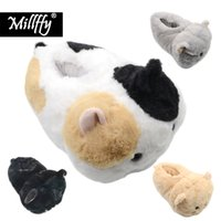 Wholesale cat plush slippers for sale - Group buy Millffy Women s Indoor Super Soft Cozy Comfortable Girls Slippers Faux Fur Cat Tabitha Slip on hamster bunny cat plush slippers Y200106
