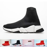 botas de las fuerzas especiales al por mayor-Oferta especial Nuevo diseñador de París Botas de lujo en blanco y negro Colisión de color Fuerza elástica tejer Gimnasio zapatos 35-44