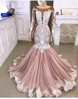 Wholesale mermaid evening dress sheer black for sale - Group buy Prom Dresses Mermaid Long Sleeves with beads and lace Applique Sweep Train Illusion Bodice Evening Gown Formal Wear vestido