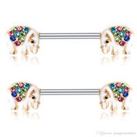 Wholesale animal nipple rings resale online - 10 Pair L Surgical Steel Barbell Piercing Crystal Rhinestone D Cartoon Animal Nipple Ring Bar Body Jewelry