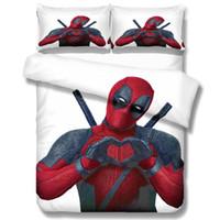 super king juegos de cama edredón al por mayor-Deadpool impresión 3D del lecho 10 Tamaño Consolador Sistemas del lecho del superhéroe Ropa de cama Ropa de cama Funda Nórdica fundas de almohada
