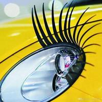 ingrosso auto decalcomania nera-3D ciglia finte nere affascinanti adesivo per ciglia finte auto decorazione faro auto decalcomania divertente per scarabeo la maggior parte delle auto