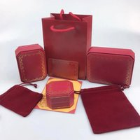 Jewelry Sets Box Red Ca Letter Necklace Bracelet Earrings Ring Sets Box Dust Bag Gift Bag (Match the store Items sales,Not sold individual)
