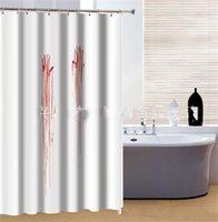 padrões de cortinas de chuveiro venda por atacado-Moda Shower Curtain Halloween Handprint Sangue Padrão de fibra de poliéster Bath Cortina Fit Household banheiro 180 * 180 centímetros Best Selling 22fn E1