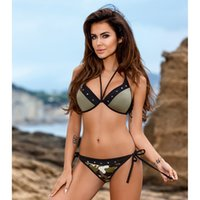 9e59a775fe Army Green Sequin Punk Style Bathing Suit Sexy Swimwear Women Star Bordered  Hot Bikini Set 2018 New Summer Swimsuit