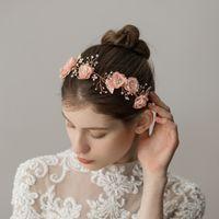 cabelo cor de laranja coreano venda por atacado-Coreano Handmade Laranja Flor Hairbands Para Noivas Headbands Nupcial Do Casamento Tiara Cocar Da Dama De Honra Do Cabelo Acessório