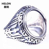 montajes de anillo de boda de la vendimia al por mayor-Vintage 925 hombres anillo de plata anillo de la boda de compromiso semi montaje anillo 16x16 mm redondo Cabochon ámbar turquesa piedra DIY