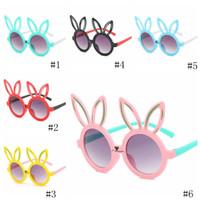 ostern gläser groihandel-Ostern Kinder Sonnenbrille Kinder nette Kaninchen-Ohr UV-Schutzbrille Outdoor-Strand Bunte Glas-Jungen-Mädchen Unisex Sonnenbrille EEA1195-16