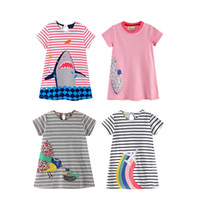 Wholesale pink dolphin purple for sale - Baby Girl Printing Dress Kids Designer Skirt Girls Short Sleeve Dolphin Stripes Round Collar Embroidery Long Skirt