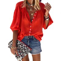 knopf damen t-shirt großhandel-Fashion Lady Designer T-Shirt Herbst einfache wilde Frauen einfarbig langärmelige V-Ausschnitt Button Shirt Bekleidung