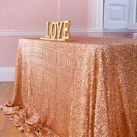 decoração rosa da mesa do casamento venda por atacado-225 * 390 cm ouro / rosa de ouro / prata / rosa / azul royal lantejoula toalha de mesa retângulo de brilho tampa de mesa para a festa de casamento decoração de mesa