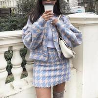 ingrosso shorts da donna tweed-2018 Donne Vintage Gonna Imposta Inverno Ladies Woolen Tweed Jacket + Gonna corta Abiti Eleganti Due Pezzi Set J190706