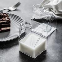 plástico levou vidros de tiro venda por atacado-Criativo Quadrado Caixa Sombra De Vidro Leite Copos Glas Leite Caneca